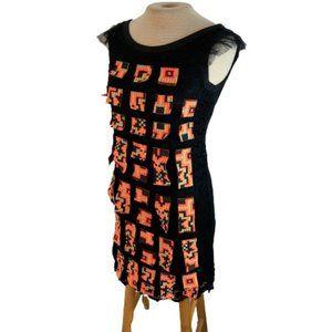 Custo Barcelona Mini Dress Black Orange Size 1